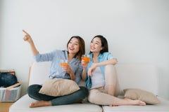 Deux amies ayant un entretien sur le divan à la maison Image stock