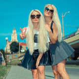 Deux amies blondes gaies Image stock