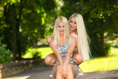 Deux amies blondes gaies Images stock