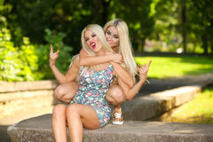 Deux amies blondes gaies Photographie stock
