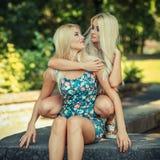 Deux amies blondes gaies Photographie stock