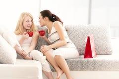 Deux amies causant avec des tasses de café au sofa Photographie stock