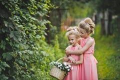 Deux amies dans une robe rose jouant dans le jardin parmi le Th Image stock