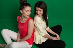 Deux amies de brune posant sur le fond vert Photographie stock