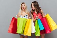 Deux amies de dames assez jeunes avec des paniers Photographie stock libre de droits