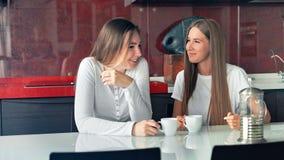 Deux amies de femmes dans un café potable de cuisine, parlant et ayant l'amusement banque de vidéos