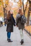 Deux amies de sourire marchant en parc d'automne Photographie stock libre de droits