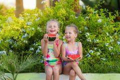 Deux amies drôles avec des pastèques des vacances Photo stock