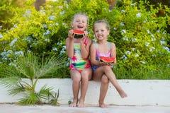Deux amies drôles avec des pastèques des vacances Photos stock