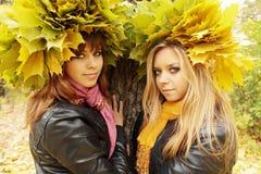 Deux amies en guirlandes Images libres de droits