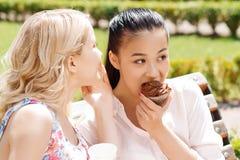 Deux amies en parc avec du café et des petits gâteaux Photo libre de droits