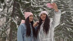 Deux amies font le selfie sur le fond de la forêt d'hiver utilisant un smartphone 4K banque de vidéos
