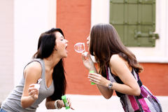 Deux amies heureuses avec des bulles de savon dehors Image stock