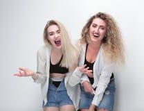 Deux amies heureux D'isolement sur le blanc Image stock