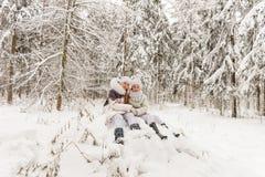 Deux amies jouant dans une forêt d'hiver Images stock
