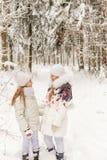 Deux amies jouant dans une forêt d'hiver Photographie stock libre de droits