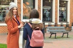 Deux amies marchant autour de la ville Photographie stock libre de droits