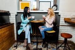 Deux amies parlant en café Photographie stock