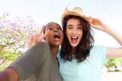 Deux amies prenant le selfie Photo libre de droits