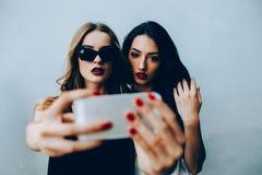 Deux amies prenant un selfie Image stock