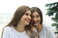 Deux amies rient l'amusement Photographie stock libre de droits