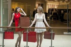 Deux amies sur des achats marchent au centre commercial avec des sacs Photographie stock libre de droits