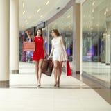 Deux amies sur des achats marchent sur le centre commercial avec des sacs Image stock