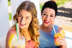 Deux amis à la plage de lac avec la détente de boissons Photographie stock