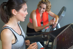 Deux amis au gymnase s'exerçant sur des machines Photo libre de droits