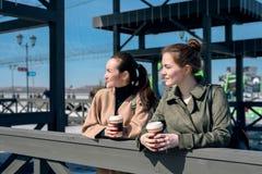 Deux amis avec les tasses de papier avec du café à l'air frais Images libres de droits