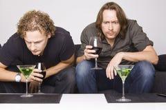 Deux amis buvant à la maison Photographie stock libre de droits