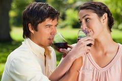 Deux amis buvant du vin tandis que joindre arme Photos libres de droits