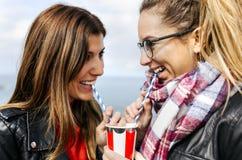 Deux amis buvant une soude avec des pailles Photographie stock
