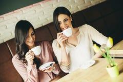 Deux amis détendant et buvant du café Images stock