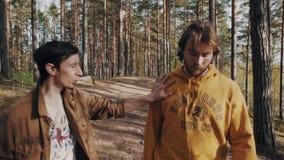 Deux amis d'hommes marchant sur la voie et les débuts de forêt discutant le jour ensoleillé clips vidéos