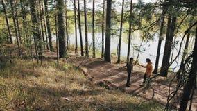 Deux amis d'hommes se tenant sur le sentier piéton de forêt et débuts discutant le jour ensoleillé banque de vidéos