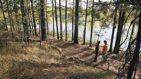 Deux amis d'hommes se tenant sur le sentier piéton en bois et débuts discutant le jour ensoleillé banque de vidéos