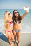 deux amis dans des maillots de bain prenant un selfie Image stock