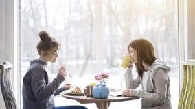Deux amis de femelle adulte mangeant et buvant du thé dans un café Photographie stock libre de droits