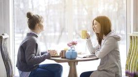 Deux amis de femelle adulte mangeant et buvant du thé dans un café Photo libre de droits