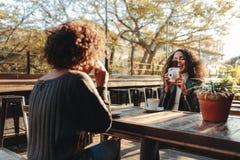 Deux amis de femmes buvant du café et cliquant sur des photos Image stock