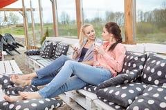 Deux amis de femmes parlant tenant des tasses de café Photo libre de droits
