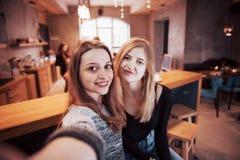 Deux amis de femmes s'asseyant en café et font le selfie Image stock
