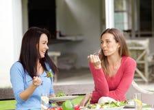 Deux amis de sourire appréciant le déjeuner Photos stock