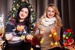Deux amis féminins à côté d'un arbre de Noël décoré Photo libre de droits