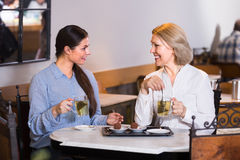 Deux amis féminins à la table de café Photo stock