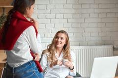 Deux amis féminins au café Photo libre de droits