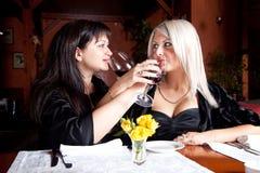 Deux amis féminins buvant du vin Photo stock