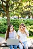 Deux amis féminins en parc fonctionnant quelque chose sur leur ordinateur portable Photographie stock libre de droits