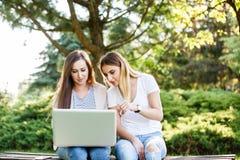 Deux amis féminins en parc fonctionnant quelque chose sur leur ordinateur portable Photos stock